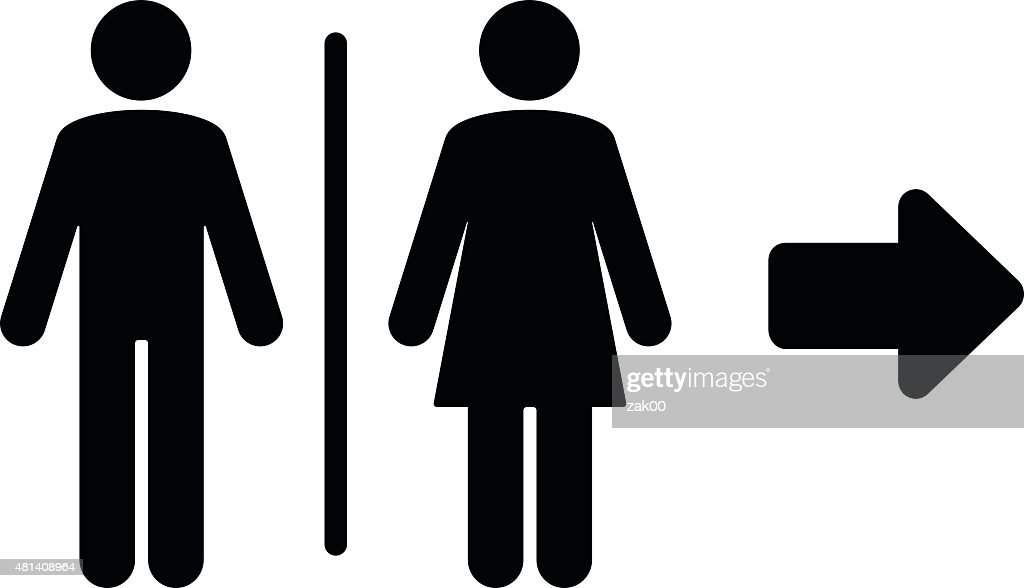 Toilet flat icon and arrow : stock illustration