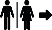 Toilet flat icon and arrow