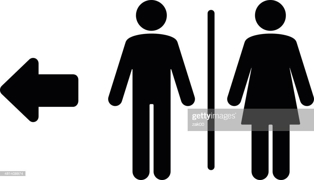 Toilet flat icon and arrow