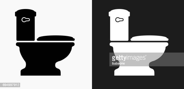 Toilet Icon on Black and White Vector Backgrounds