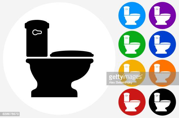 Toilet Icon on Flat Color Circle Buttons