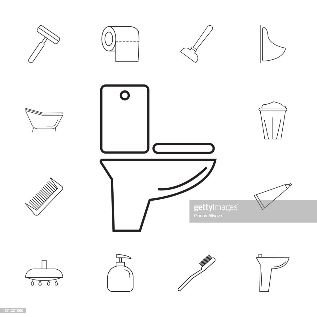 Toilet Icon Set Of Bathroom Icons Signs Outline Symbols Collection ...