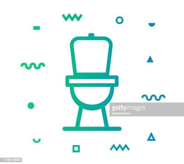 illustrations, cliparts, dessins animés et icônes de conception d'icône de modèle de ligne de toilette - cuvette des toilettes