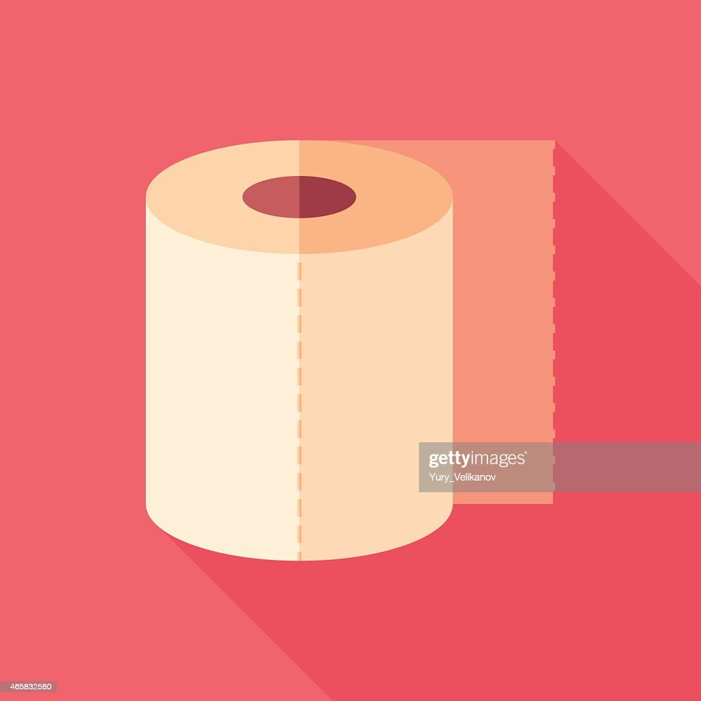 Toilet paper flat square icon with long shadows.