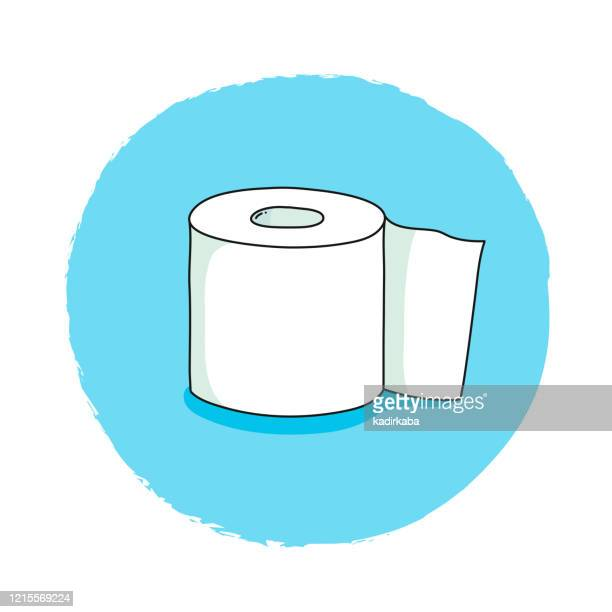 toilet paper hand drawn, doodle and vector illustration icons - bathroom stock illustrations