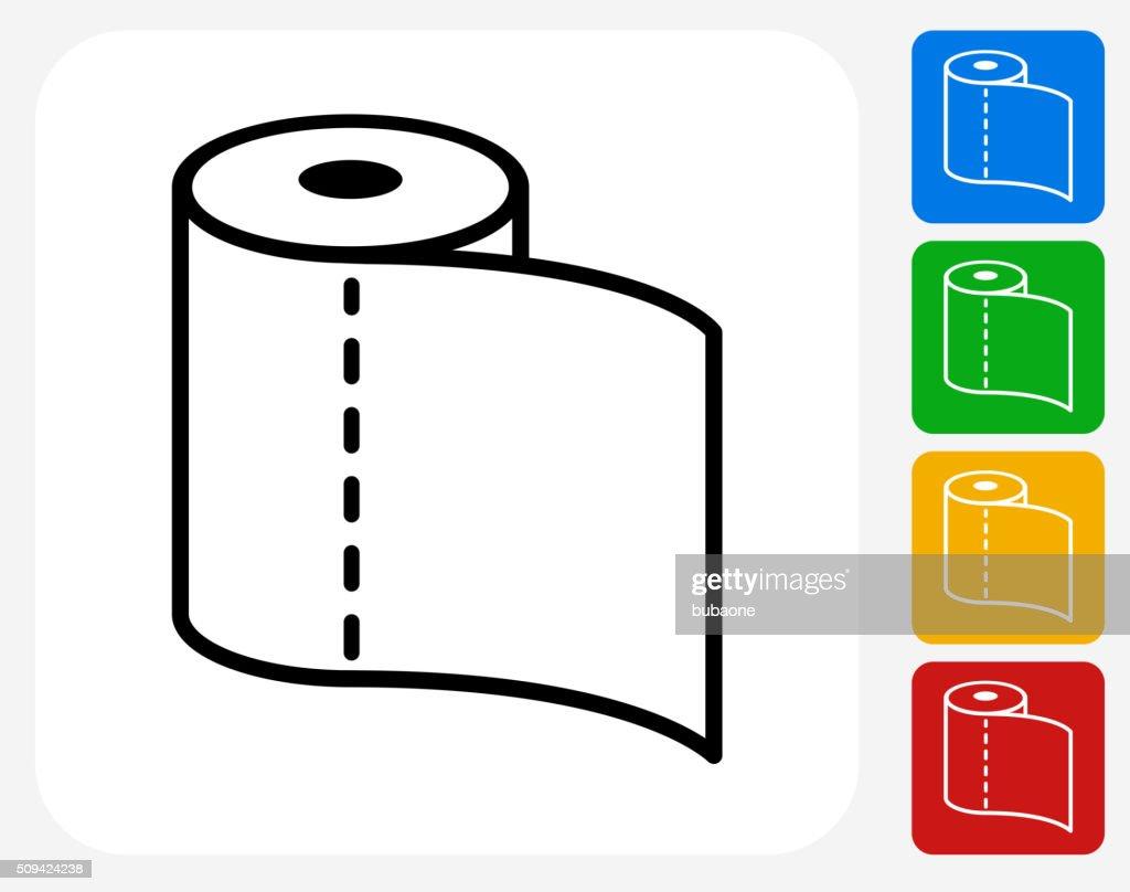 Toilet Paper Icon Flat Graphic Design