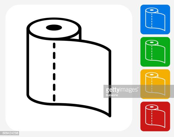 toilet paper icon flat graphic design - paper towel stock illustrations, clip art, cartoons, & icons