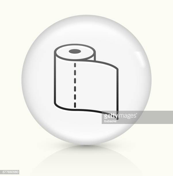 toilet paper icon on white round vector button - paper towel stock illustrations, clip art, cartoons, & icons