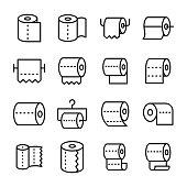 Toilet Paper Line Vector Icons Set