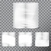 Toilet paper package mock up with transparent wrapping. Vector illustration template