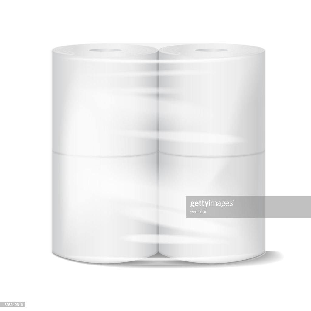 Toilet paper package white mock up with transparent wrapping. Vector illustration template