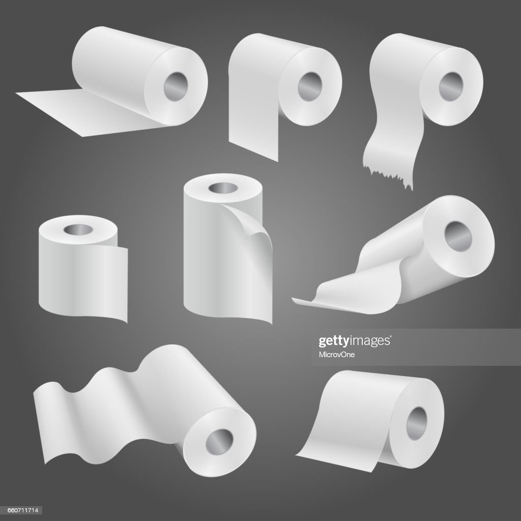 Toilet paper roll, white soft kitchen towels vector set