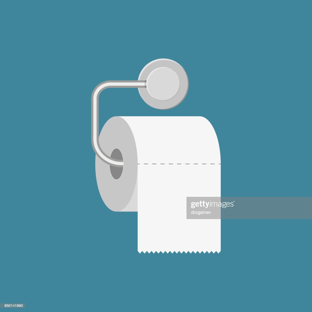 Toilet paper roll with metal holder.
