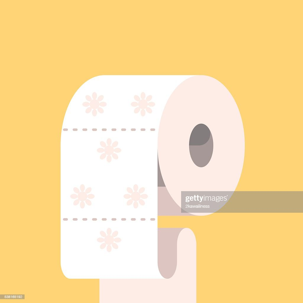 Toilet paper with flower symbol.
