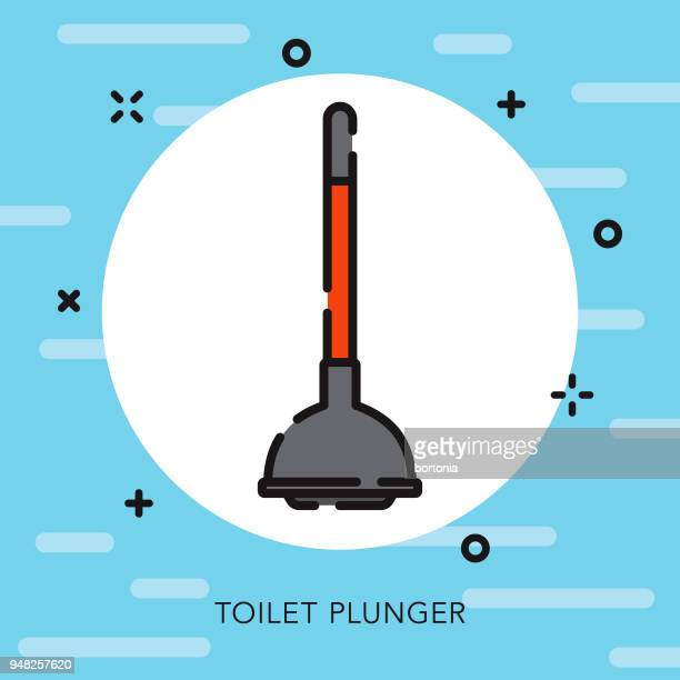 toilet plunger open outline cleaning supplies icon - plunger stock illustrations, clip art, cartoons, & icons