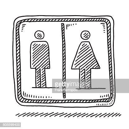 Toilet Sign Men Women Symbol Drawing Vector Art Getty Images