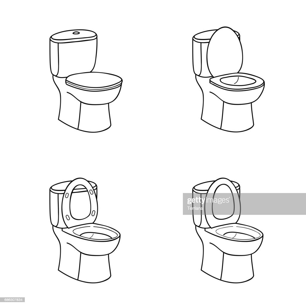 Toilet Sketch Sign. Toilet bowl with seat. Line art Icon Set.