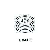 Tokens Line icon. Simple element illustration