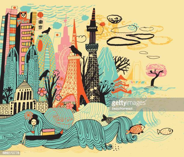 tokyo un japan - tokyo sky tree stock illustrations, clip art, cartoons, & icons