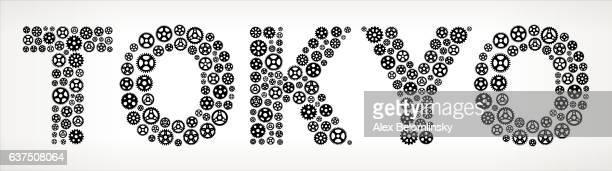 Tokyo Black Gears Vector Graphic Illustration
