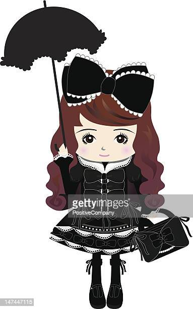 tokyo harajuku gothic & lolita fashion style girl - only japanese stock illustrations, clip art, cartoons, & icons