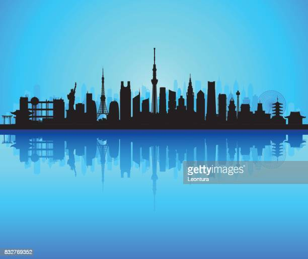 tokyo skyline (all buildings are detailed and complete) - tokyo sky tree stock illustrations, clip art, cartoons, & icons