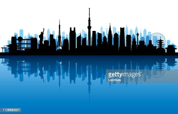 tokyo (all buildings are complete and moveable) - tokyo sky tree stock illustrations, clip art, cartoons, & icons