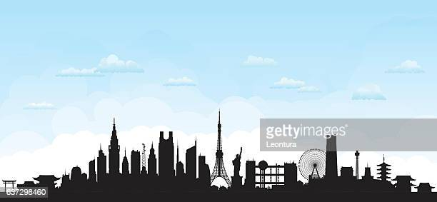 tokyo (buildings are detailed, moveable and complete) - tokyo japan stock illustrations, clip art, cartoons, & icons