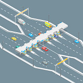 Toll Road Payment Concept 3d Isometric View. Vector