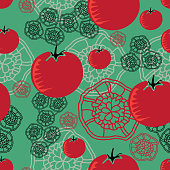 Tomato and Lace-Vegi Delight, seamless Repeat Pattern illustration.Background in red,green and black.