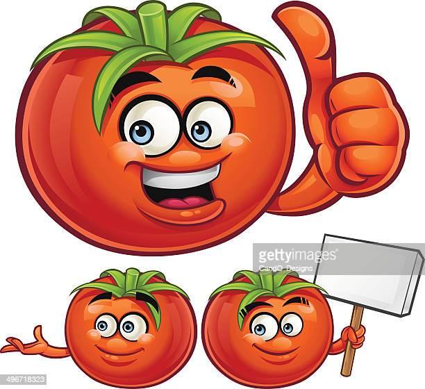 tomato cartoon set c - anthropomorphic foods stock illustrations, clip art, cartoons, & icons