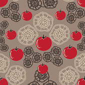 Tomato Decor-Vegi Delight seamless Repeat Pattern illustration.Background in red,green and black.