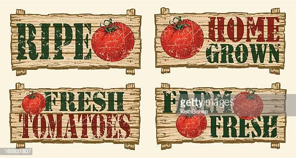 ilustrações, clipart, desenhos animados e ícones de placas de tomate-farmers market - produto local