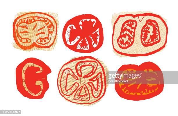 tomato slices - juicy stock illustrations, clip art, cartoons, & icons
