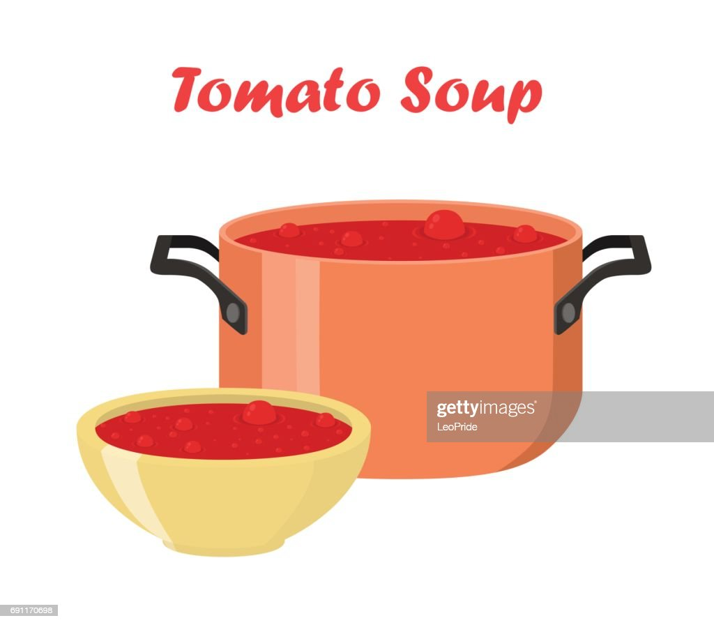Tomato soup in bowl, dish. Hot meal with vegetables, meat