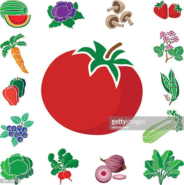 tomato with vegetable and fruit border - red cabbage stock illustrations, clip art, cartoons, & icons
