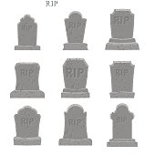 Tomb set. Ancient RIP. Collection of gravestones. Grave on white
