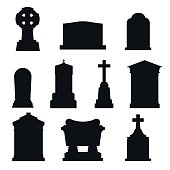 Tombs stone grave vector construction black and white icons