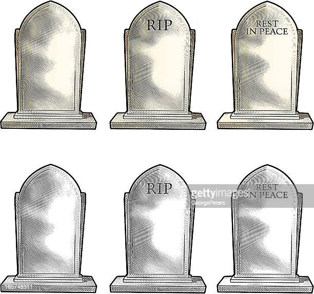 tombstone engraving - rest in peace stock illustrations