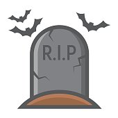 Tombstone filled outline icon, halloween and scary, grave sign vector graphics, a colorful line pattern on a white background, eps 10.