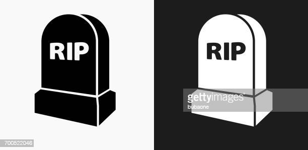 rip tombstone icon on black and white vector backgrounds - grave stock illustrations, clip art, cartoons, & icons