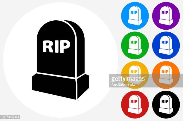 rip tombstone icon on flat color circle buttons - rest in peace stock illustrations