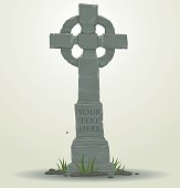 Tombstone in the shape of a cross