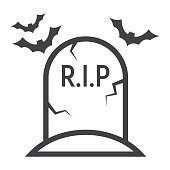 Tombstone line icon, halloween and scary, grave sign vector graphics, a linear pattern on a white background, eps 10.