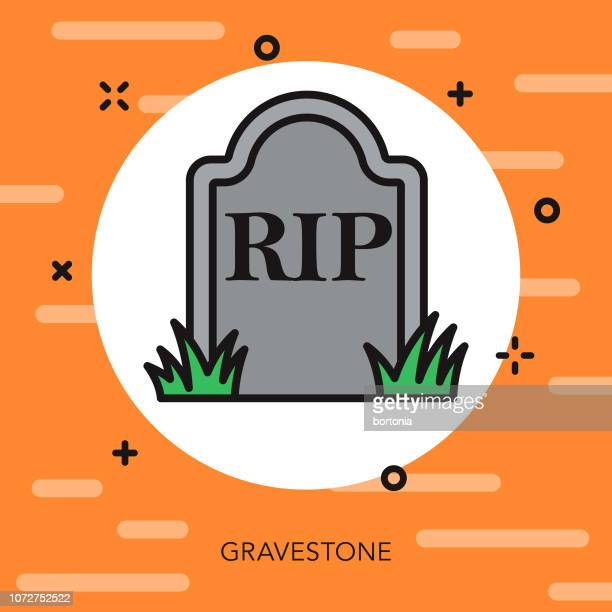 tombstone thin line halloween icon - grave stock illustrations, clip art, cartoons, & icons