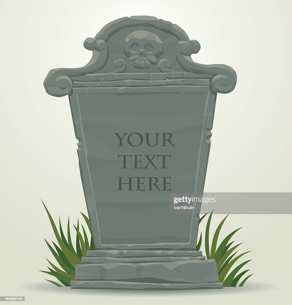 Tombstone with skull