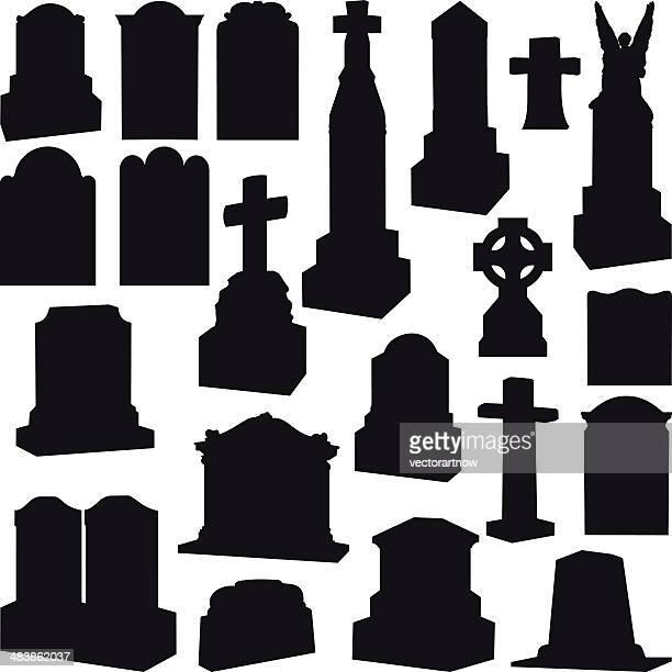 tombstones, headstones, gravestone and crosses - grave stock illustrations, clip art, cartoons, & icons