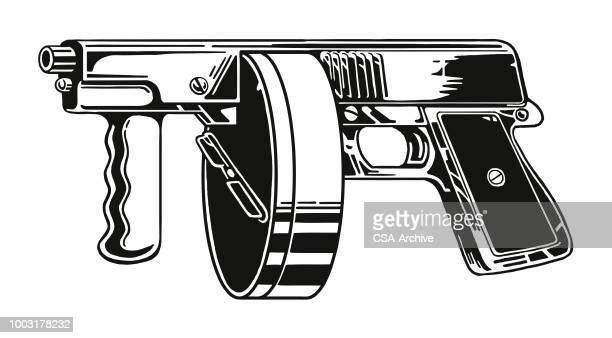 tommy gun - machine gun stock illustrations, clip art, cartoons, & icons