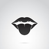 Tongue, lips, mouth vector icon.