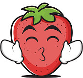 Tongue out strawberry cartoon character vector illustration